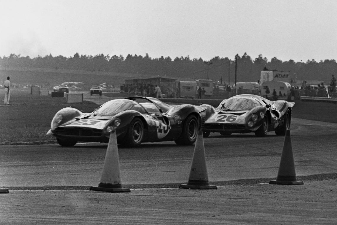 Ferrari 330 P3/4 (0846) and Ferrari 412 P (0844) at Daytona in 1967 (photo: Ferrari)