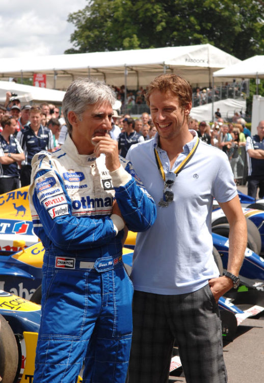 Damon Hill and Jenson Button in the Assembly area