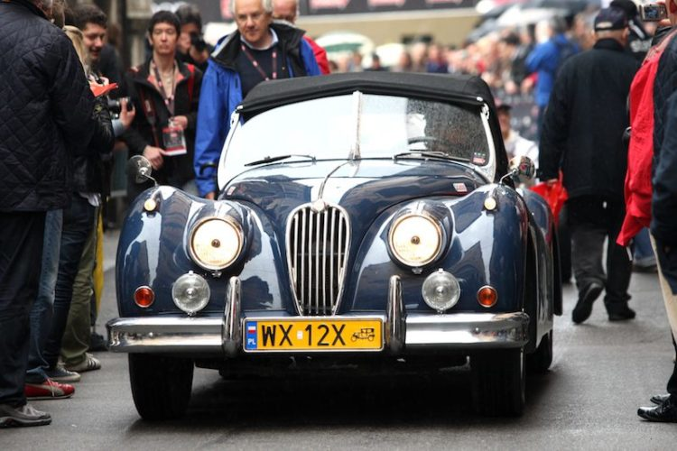 Jaguar XK120 prepares to leave Brescia