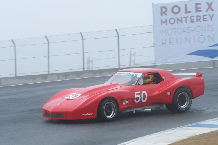A foggy damp track for Tom Armstrong's 1977 Greenwood Chevrolet Corvette.