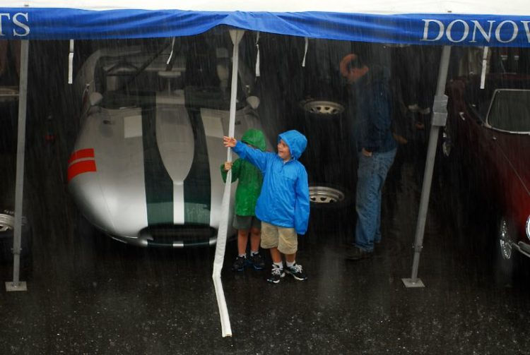 Staying dry in the Donovan Motorsports pits