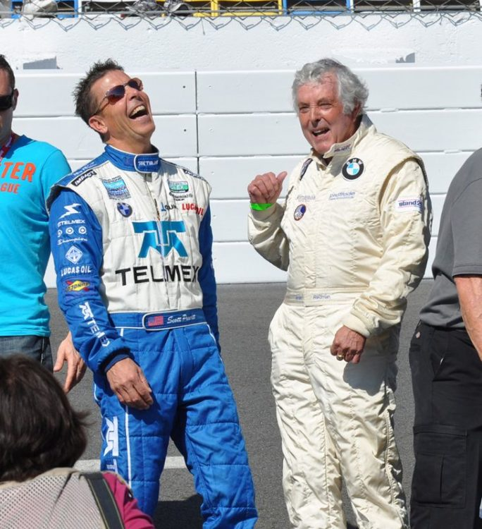 Scott Pruett (l) and Brian Redman enjoy a laugh