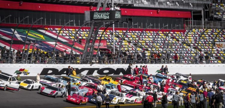 Staging the 50th anniversary parade at the 2012 Daytona 24 Hours (Rolex / Stephan Cooper)