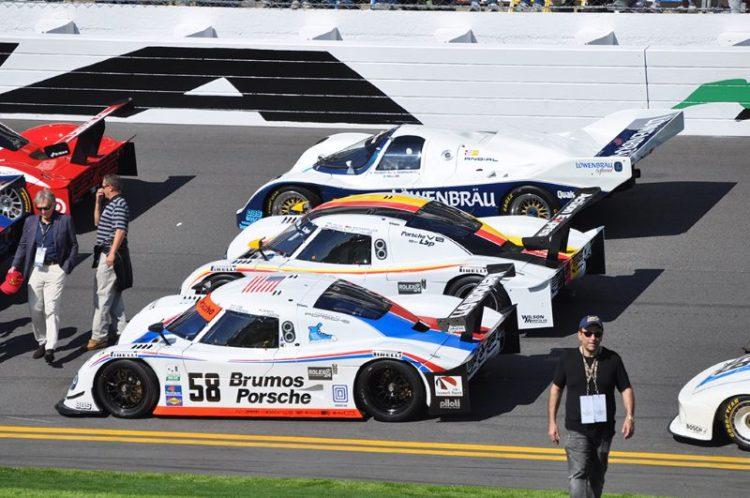 2009 Riley Brumos Porsche, 2010 Riley Porsche and 1986-87 Winner Lowenbrau Porsche 962