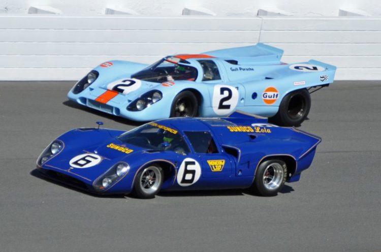 1969 Winner, Sunoco Team Penske Lola-Chevrolet T70 Mk3B of Mark Donohue and Chuck Parsons and 1970 Winner, Gulf Porsche 917K of Pedro Rodriguez, Brian Redman and Leo Kinnunen