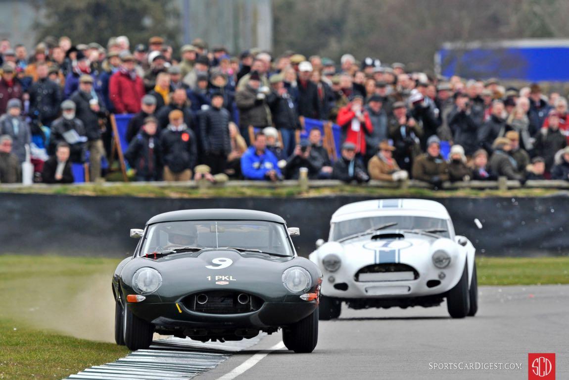 Jaguar E-Type and AC Cobra at the Goodwood Members Meeting (photo: Tim Scott)
