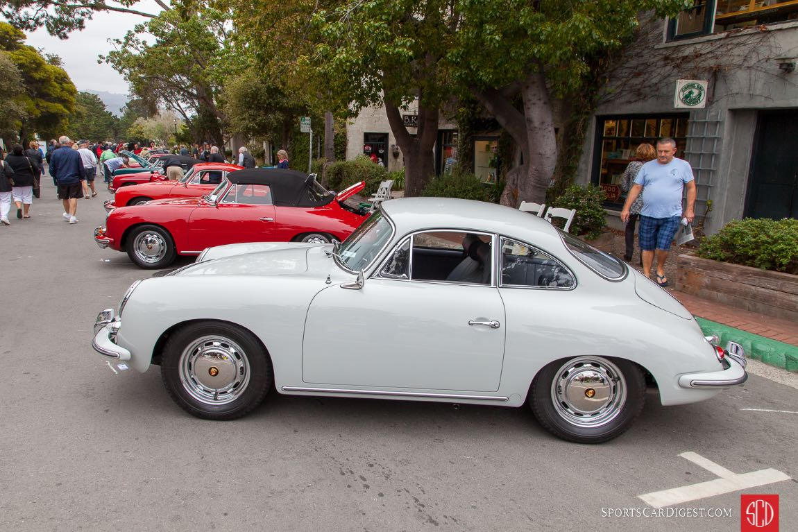 Porsche 356s lined up on Ocean Ave.