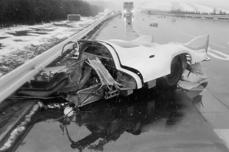 The accident of Kurt Ahrens in 917-006 in March 1970 in Ehra Lessien. The accident happened before the pre-training at Le Mans in April 1970.