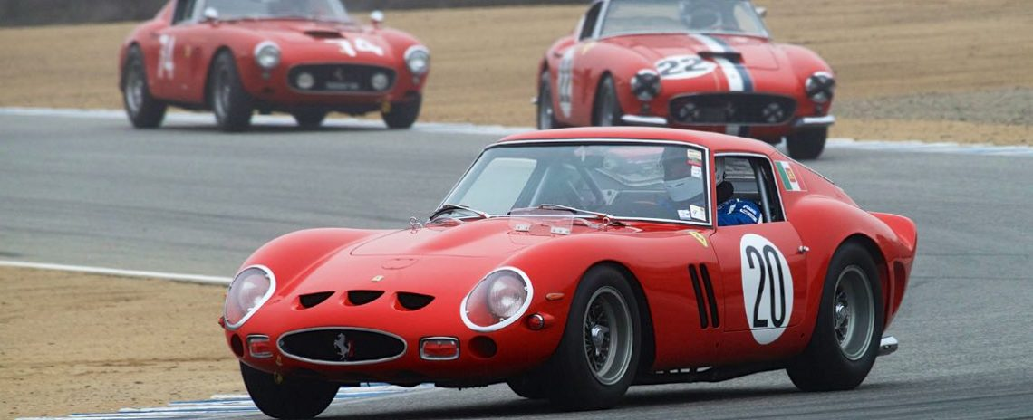Ferrari 250 GTO, followed by a pair of Ferrari 250 GT SWB Berlinettas