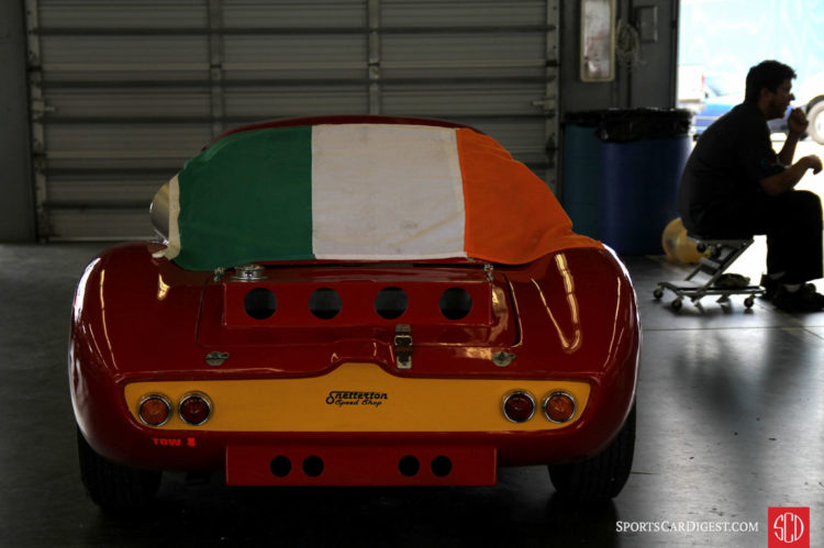 Ginetta blanketed by Irish flag,