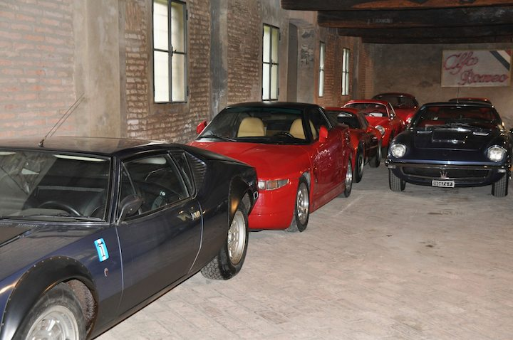 De Tomaso Pantera, row of Alfas and Maserati Mistral