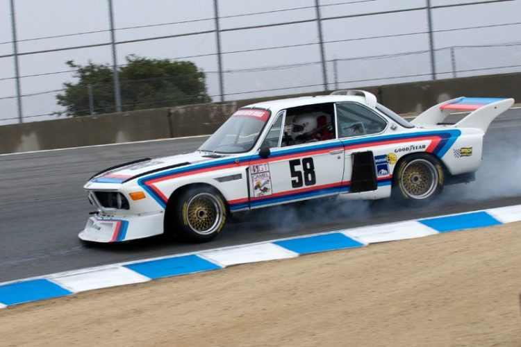 Henry Schmitt checks out the brake bias on his 1974 BMW 3.5CSL Batmobile.