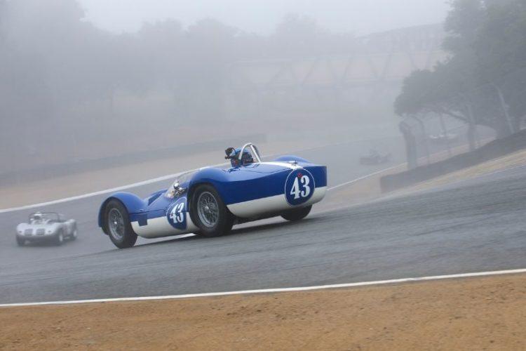 Fog and a damp track greet the Tipo 60 Maserati of Rob Walton.