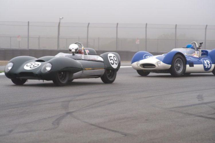 Don Orosco's Lotus 15 leads Rob Walton's Maserati Tipo 60 out of