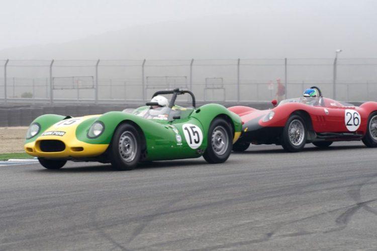 Brent Backman's 1958 Lister Knobbly Jaguar leads Joe Lacob's 1956 Maserati 200S.