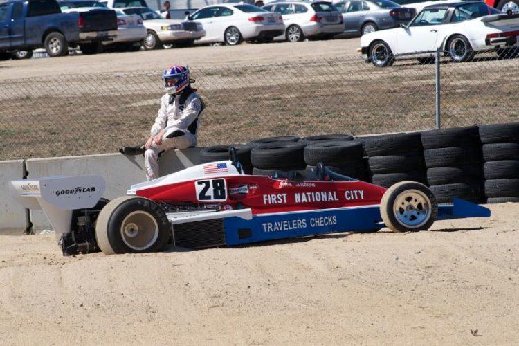 Douglas Mockett in the turn five sand trap.