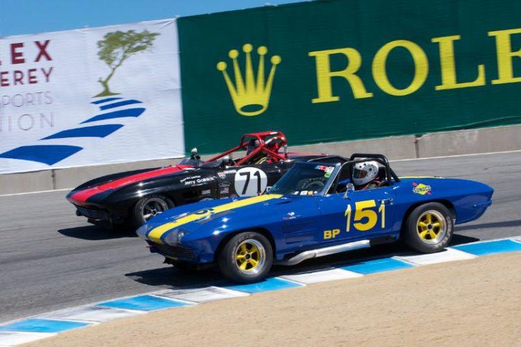 Bruce Miller's 63 Corvette inside Jerry Gollnick's 64 Corvette.