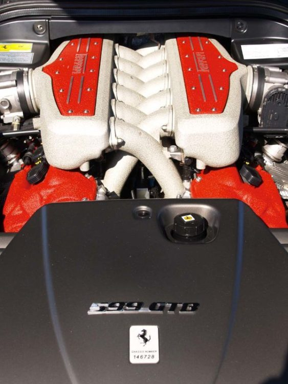 Engine bay of the Ferrari 599 Fiorano of 2006