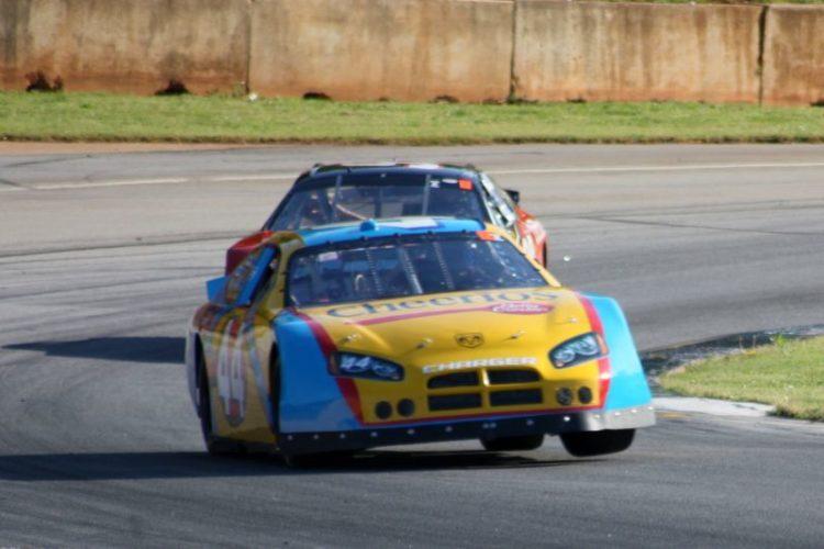 Maurice Hull, 06 Charger 3 wheeling it through turn 5.