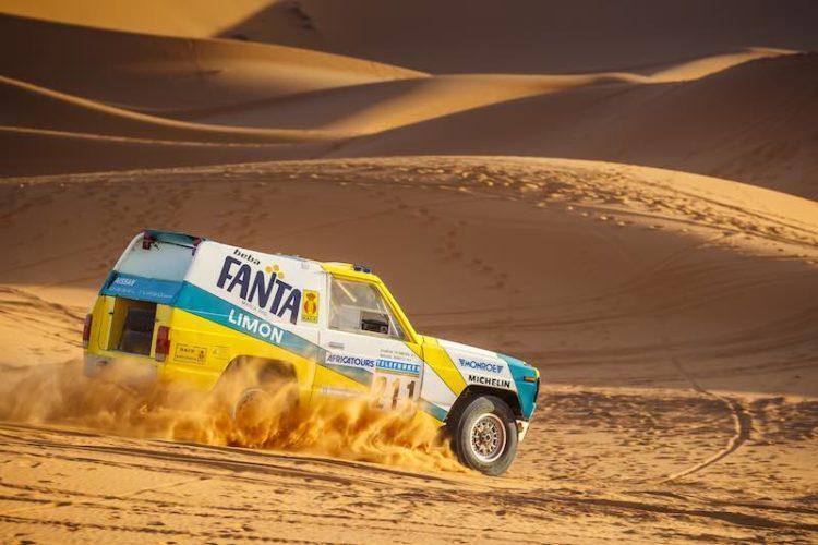Dakar Classic. 1987 Nissan Patrol Fanta Limon Paris-Dakar rally car