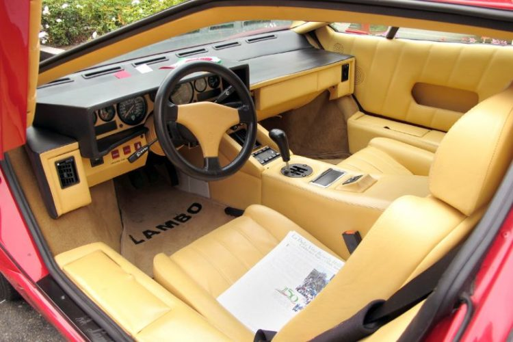 Here's the welcoming lush cabin of this Vince Tuomty-owned 1989 Lamborghini Countach.