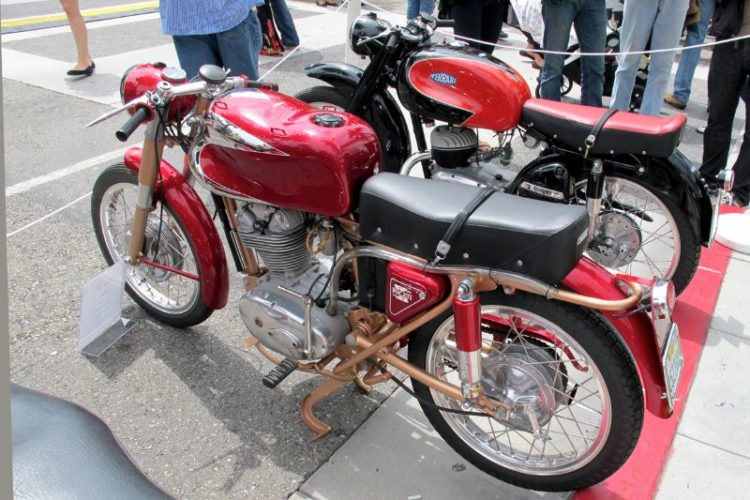 A delicious Italian motorcycle pairing: Ducati's 1960 200 Elite and an early 1950s Fratelli Ferrari (not connected to Enzo).