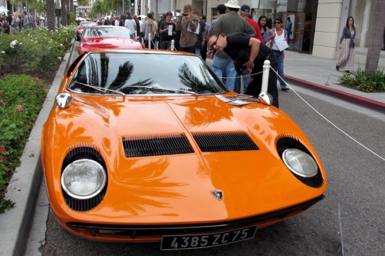 Jeffery Meier's 1970 Lamborghini Miura is one of 764 built between 1966 and 1972.  The Miura set the pace for many high performance, 2-seater, mid-engine sports cars to follow.  It still looks great on Rodeo Drive.