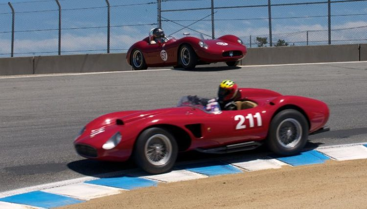Michael Callaham, Ferrari 625TRC passes a momentarily parked Ned Spieker in his Maserati 200SI. Turn eight the Corkscrew.