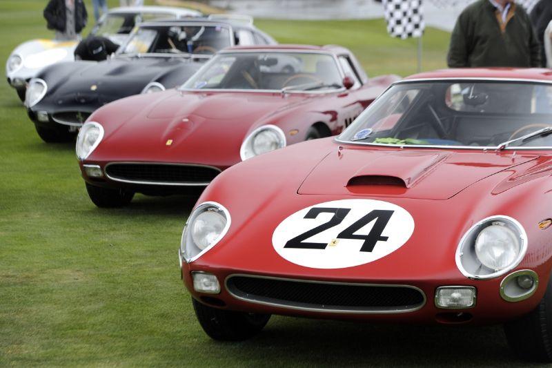 Ferrari 250 GTO Line-up, led by 1964 Ferrari 250 GTO/64 s/n 5575GT of Carlos Rhon
