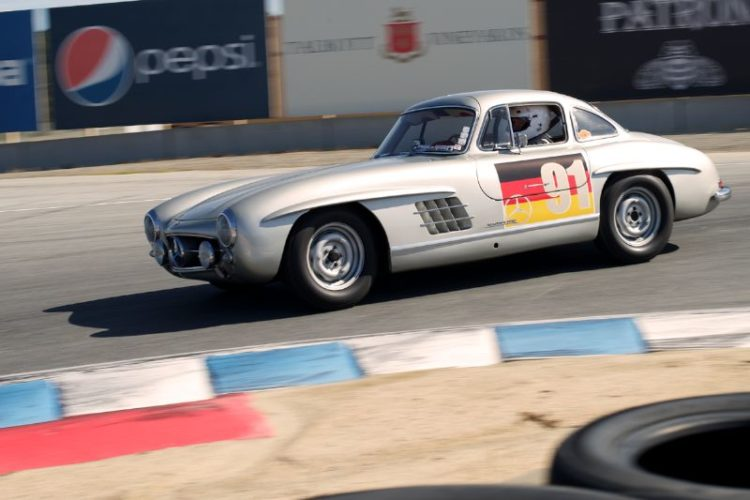 An exciting combination to watch in any of Laguna's turns Alex Curtis in his 1955 Mercedes 300SL.