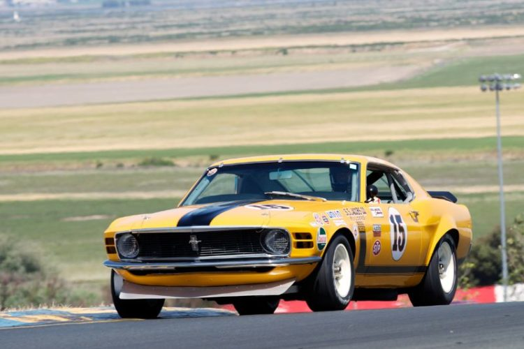 Brian Ferrin in his 1970 Boss 302 Mustang in turn two.