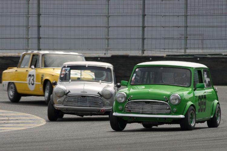 Left to right Frank Zucchi's Alfa Romeo Giulia TI, John Burman's Austin Cooper S, and Julie Racine's Morris Minor Cooper in eleven.