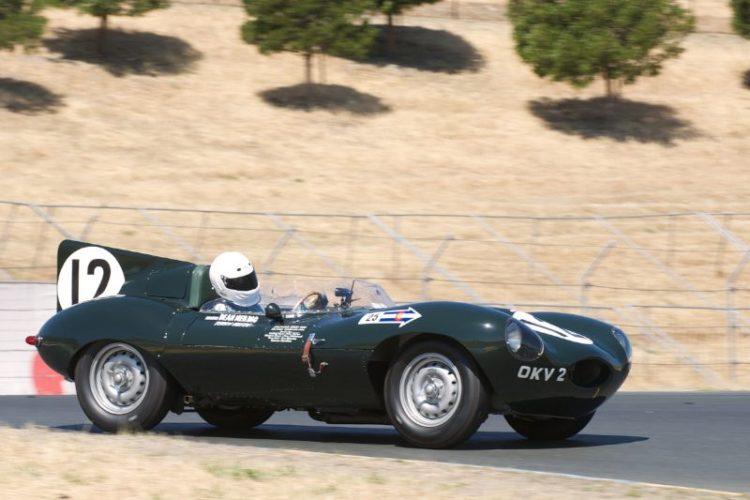 Dean Meiling's D Type Jaguar in turn four.