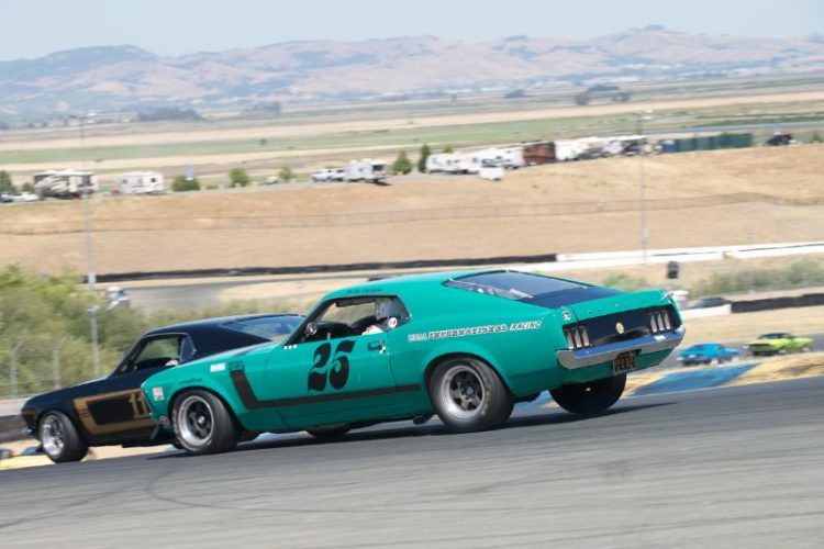 Craig Conley's 1970 Boss 302 Mustang in a tightly crowded four.