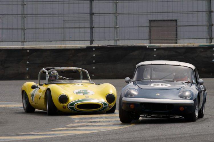 Jeff Kline's 1964 Ginetta G-4 inside Daalmo de Vasconcelos' 1965 Lotus Elan in eleven.