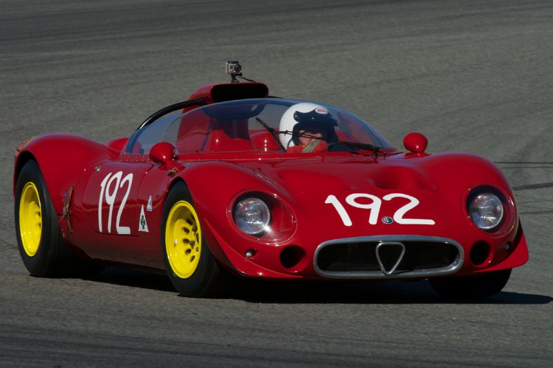 Joe Nastasi's Alfa Romeo T33-2 in turn two Thursday morning.