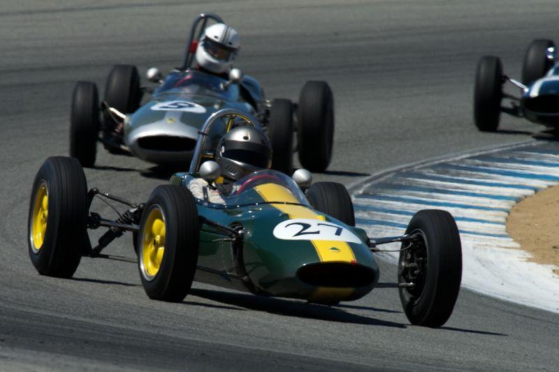 Chris Lock in his Lotus 27 in turn five Friday.