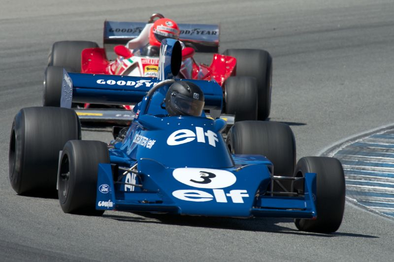 Nicholas Colyvas in a Tyrrell 7 in turn five Friday.
