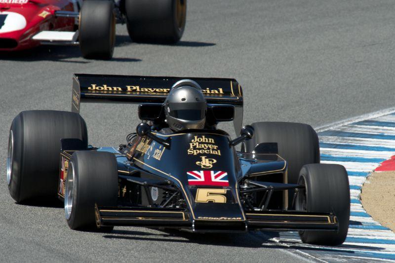 Chris Lock in his Lotus 77 in turn five Friday.