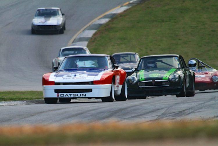 Greg Dietz, 76 Datsun 280Z, leads an interesting assortment of cars into turn 5.