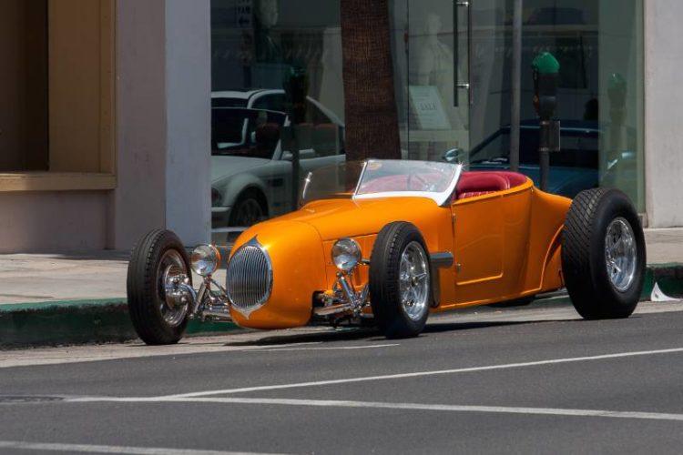 Custom hot rod parked on Santa Monica Blvd.