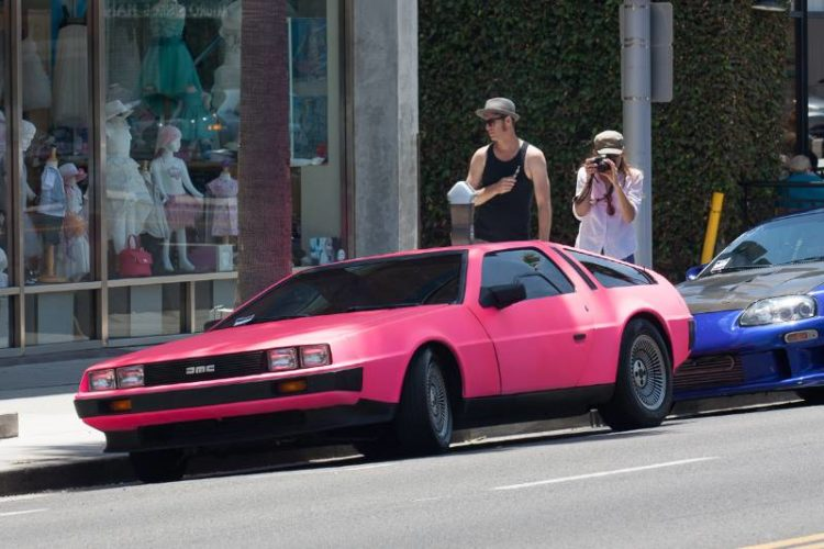 Only in Beverly Hills will you find a pink DeLorean DMC-12.