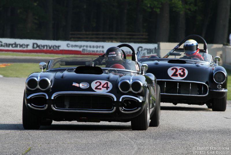 Bill Treffert, 60 Corvette, leads Todd Stuckart's 57 Corvette.
