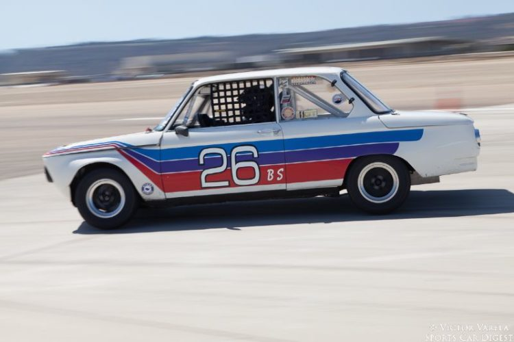 Tim Brecht at speed in his 1969 BMW 2002 TA. © 2014 Victor Varela