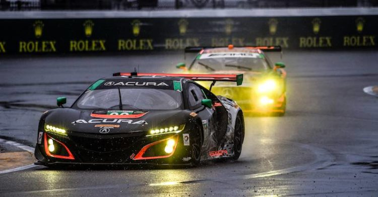 The #86 Michael Shank Racing Acura NSX GT3 driven by Jeff Segal, Ryan Hunter-Reay, Ozz Negri and Tom Dyer finished fifth in the GTD class, and won the opening round of the North American Endurance Championship, Sunday at the Rolex 24.