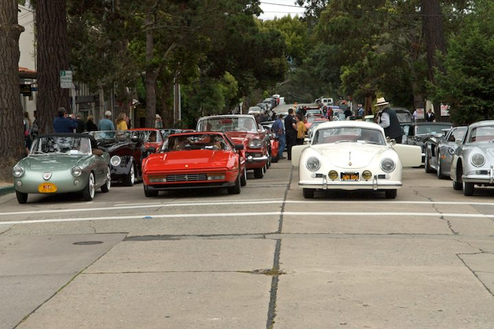 Lined up for placement on Ocean Ave. Far left is a 1958 Fiat Abarth Allemano Spyder.