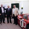 Henry Ford III, Dan Gurney, Edsel B. Ford II, A.J. Foyt, the 1967-Le Mans-winning Ford GT Mark IV. Photo credit: Albert Wong