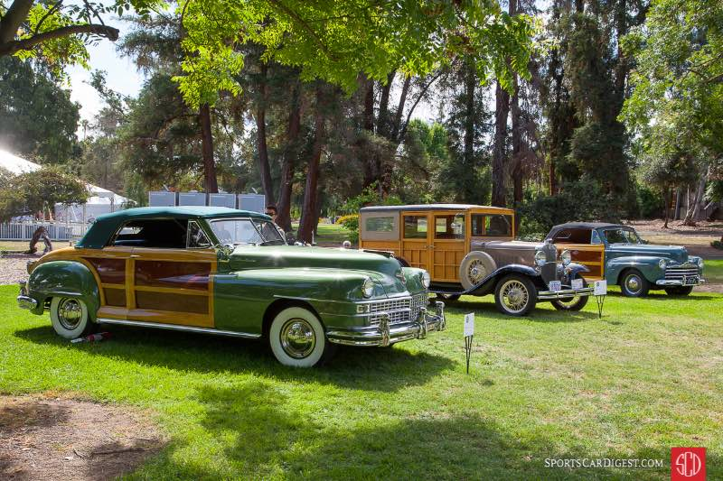 (L-R) 1948 Chrysler Town & Country Convertible, 1931 Chevrolet Woody,1946 Ford Super Delux Sportsman