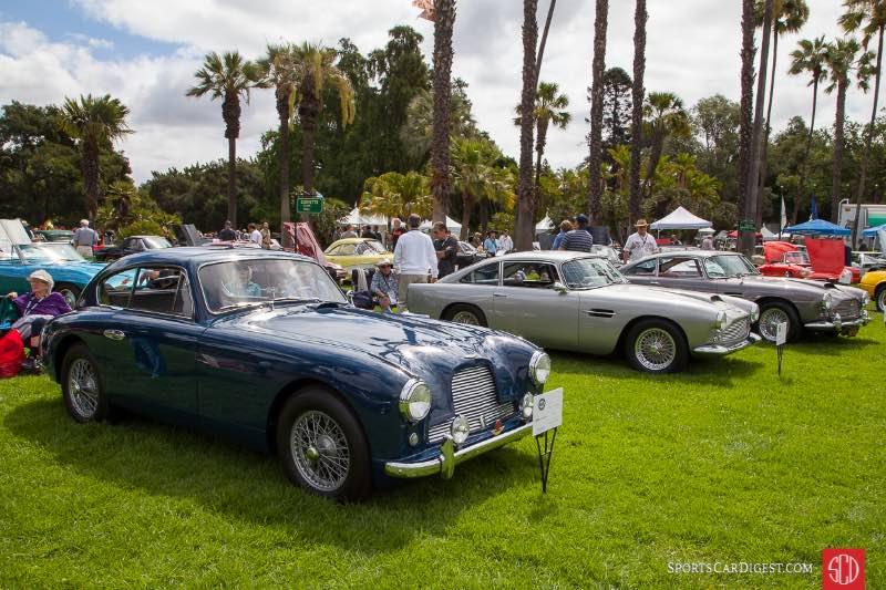 (L-R) 1955 Aston Martin DB2/4, 1960 Aston Martin DB4, 1961 Aston Martin DB4