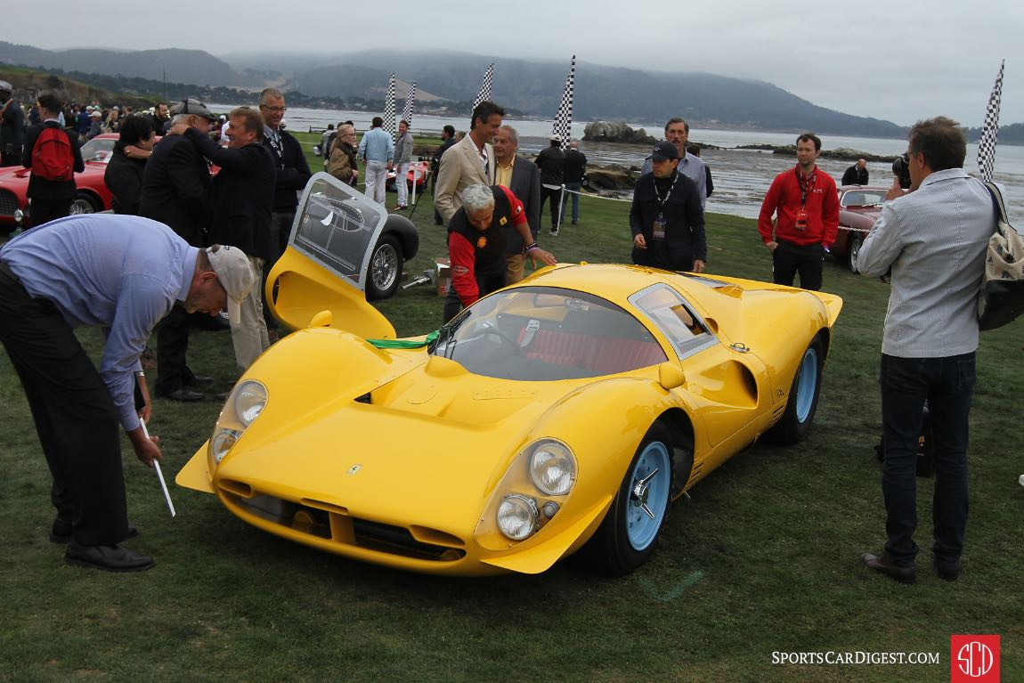 1967 Ferrari 412 P Competizione chassis 0850 was purchased by the Ecurie Nationale Belge team of Jacques Swaters, and it raced in bright yellow livery at various events in 1967 and 1968; 0850 finished second overall at the 1,000 km Race at Montlhery in 1967 and it won the Cote de Condroz and Cote de la Roche Hill Climbs in 1968; the 412 P was later converted to street use for Dean Martin Jr. and was often seen on roads around Hollywood